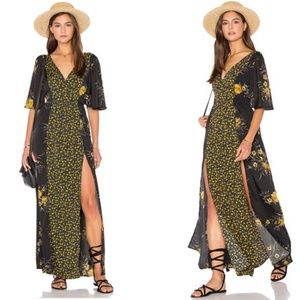 Band Of Gypsies Revolve Floral V Neck Maxi Dress M
